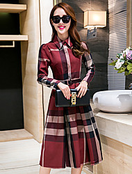 cheap -Women's Daily Going out A Line Sheath Knee-length Dress, Geometric Shirt Collar Long Sleeves