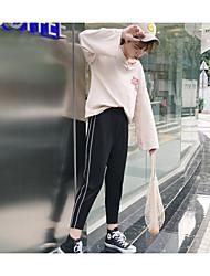 baratos -Feminino Casual Cintura Alta Sem Elasticidade Chinos Calças,Sólido Linho Todas as Estações