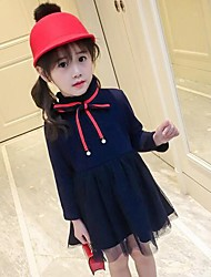 cheap -Girl's Solid Dress,Rayon Polyester Long Sleeves Casual Princess Navy Blue