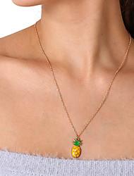 abordables -Mujer Collares con colgantes / Collares de cadena - Piña, Fruta Simple, Dulce Dorado Gargantillas Para Diario