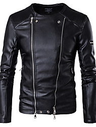 cheap -Men's Punk & Gothic Plus Size Leather Jacket - Solid, Zipper