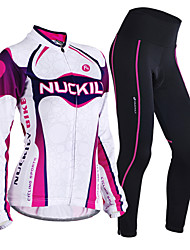 cheap -Nuckily Women's Long Sleeves Cycling Jersey with Tights - Purple Geometic Bike Clothing Suits, Thermal / Warm, Anatomic Design,