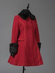 cheap -Winter Sweet Lolita Coat Princess Wool Women's Adults' Girls' Coat Cosplay Red Long Sleeves