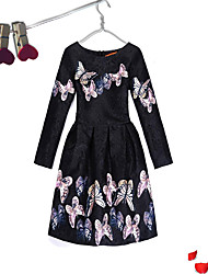 cheap -Girl's Event/Party Dailywear Dress,Cotton Polyester Long Sleeves Cute Casual Princess White Black