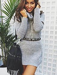 Longue Pullover Femme Sports Décontracté / Quotidien simple Mignon Actif Sexy Chic de Rue,Couleur Pleine Col Roulé Manches Longues Coton