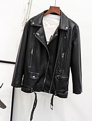 preiswerte -Damen Solide Einfach Lässig/Alltäglich Jacke,Hemdkragen Herbst Langarm Standard Leder