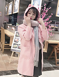 Women's Daily Going out Simple Cute Casual Winter Fall Coat,Solid Hoodie Long Sleeves Long Polyester