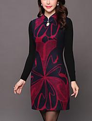 abordables -Mujer Tallas Grandes Vaina Vestido - Estampado Escote Chino