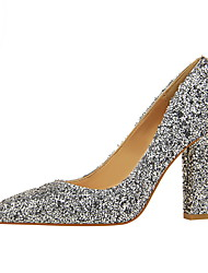 Femme Chaussures Similicuir Printemps Automne Confort Chaussures à Talons Bout pointu Pour Habillé Argent Gris Arc-en-ciel Preto e