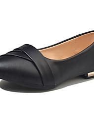abordables -Femme Chaussures Polyuréthane Printemps / Eté Moccasin Ballerines Bout rond pour Blanc / Noir / Beige
