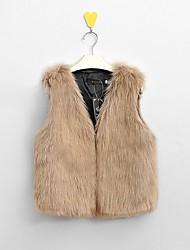 cheap -Women's Street chic Plus Size Faux Fur Vest - Solid Colored, Stylish / Slim V Neck / Winter