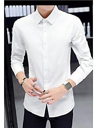 Masculino Camisa Social Para Noite Casual Moda de Rua Sólido Poliéster Colarinho de Camisa Manga Longa