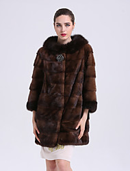 Women's Going out Simple Casual Winter Fur Coat,Solid 3/4 Length Sleeves Long Fox Fur