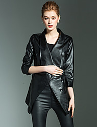 cheap -Women's Leather Jacket - Solid Shirt Collar