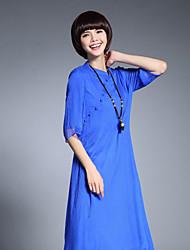 abordables -Mujer Corte Ancho Vestido Noche Trabajo Tejido Oriental,Un Color Escote Chino Hasta la Rodilla La mitad de manga Seda Verano Tiro Medio