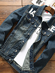 cheap -Men's Simple Casual Cotton Denim Jacket-Letter Shirt Collar