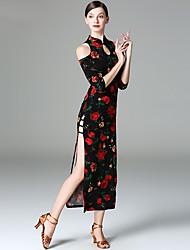 economico -Danza del ventre Vestiti Per donna Esibizione Lino Con spacco Mezza Manica Abito