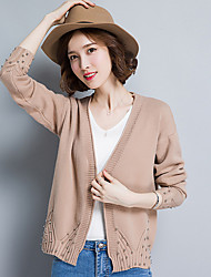 Women's Daily Wear Regular Cardigan,Solid V Neck Long Sleeves Polyester Autumn Winter Thick Stretchy