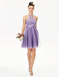 cheap -A-Line Princess Jewel Neck Short / Mini Tulle Corded Lace Bridesmaid Dress with Appliques Sash / Ribbon Pleats by LAN TING BRIDE®