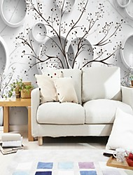 abordables -Géométrique arbres/Feuilles 3D Décoration d'intérieur Moderne Classique Rustique Revêtement, Toile Matériel adhésif requis Mural, Couvre