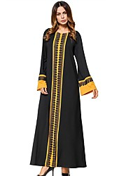 cheap -Women's Daily Swing Dress,Solid Color Block Round Neck Maxi Long Sleeve Cotton All Season Mid Rise Micro-elastic Opaque