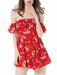 Недорогие -Для женщин Контрастных цветов Простой Комбинезоны,Для праздника / вечеринки Шорты С короткими рукавами Вырез лодочкой Весна Лето Полиэстер
