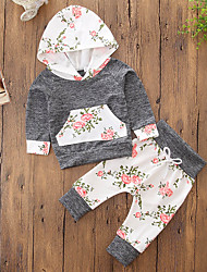cheap -Girls' Floral Color Block Clothing Set, Cotton Polyester Fall Spring, Fall, Winter, Summer Long Sleeves Cute Active Gray