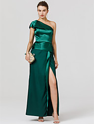 Sheath / Column One Shoulder Floor Length Satin Formal Evening Dress with Split Front by TS Couture®