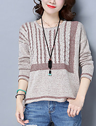 cheap -Women's Daily Wear Short Pullover,Striped Round Neck Long Sleeves Cotton Winter Fall Medium Micro-elastic