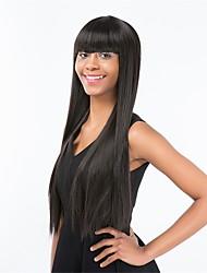 Недорогие -Парики из искусственных волос Прямой С чёлкой Искусственные волосы Природные волосы Черный Парик Жен. Длинные Без шапочки-основы Черный