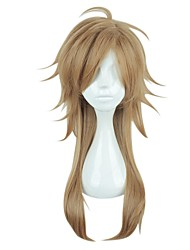 cheap -Synthetic Wig / Cosplay & Costume Wigs Straight Asymmetrical Haircut / With Bangs Synthetic Hair Natural Hairline Brown Wig Women's Medium Length / Long Capless
