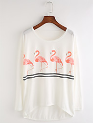 cheap -Women's Daily Cute Fall T-shirt,Print Round Neck Long Sleeves Cotton Thin