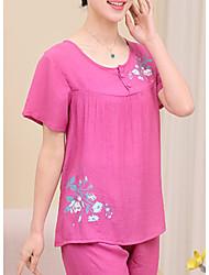 Costumes Pyjamas Femme,Imprimé Fleurs Polyester Bleu Vert Rouge Rose Claire Fuchsia