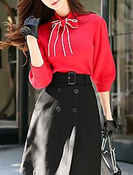 economico -Standard Pullover Da donna-Per uscire Casual Semplice Vintage Tinta unita Girocollo Maniche a 3/4 Cotone Rayon Autunno Primavera Medio