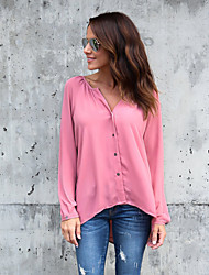 cheap -Women's Daily Holiday Street chic Shirt,Solid V Neck Long Sleeve Polyester