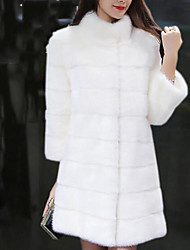 cheap -Women's Daily Simple Casual Winter Fur Coat,Solid Stand Long Sleeves Long Wool Cotton