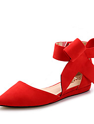 cheap -Women's Shoes Flocking Spring Fall Comfort Flats Flat Pointed Toe Bowknot For Wedding Party & Evening Blue Red Black