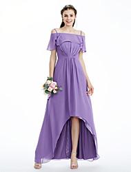 Linha A Princesa Assimétrico Chiffon Vestido de Madrinha com Drapeado Lateral Pregas de LAN TING BRIDE®
