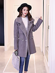 cheap -Women's Street chic Wool Coat-Solid Colored,Modern Style