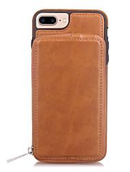 baratos -Capinha Para Apple iPhone X iPhone 8 Porta-Cartão Carteira Espelho Capa traseira Côr Sólida Rígida PU Leather para iPhone X iPhone 8 Plus