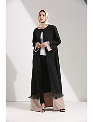 cheap -Women's Party Daily Wear Casual Loose Abaya Dress,Color Block Patchwork Round Neck Maxi Long Sleeve Polyester Elastane All Season High