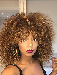 Women Synthetic Wig Capless Medium Length Kinky Curly Blonde Highlighted/Balayage Hair Natural Wigs Costume Wig