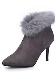 cheap -Women's Sandals Summer Peep Toe Fleece Casual Stiletto Heel  Black