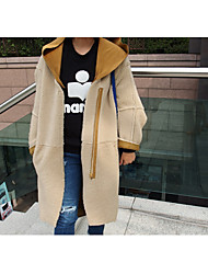 Women's Casual/Daily Simple Fall Winter Coat,Solid Hooded Long Sleeve Regular Wool