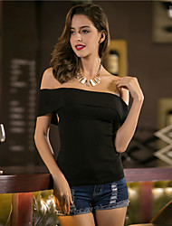 cheap -Women's Daily Wear Regular Vest,Solid Round Neck Sleeveless Cotton Acrylic Others Fall/Autumn Medium strenchy