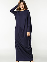 Women's Daily Swing Dress,Solid Round Neck Maxi Long Sleeve Cotton All Season Mid Rise Inelastic Opaque
