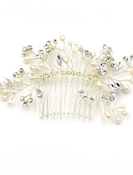 cheap -Pearl Rhinestone Hair Combs Flowers with Rhinestone Pearl Scattered Bead Floral Motif Style 1pc Wedding Party / Evening Headpiece