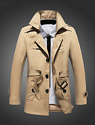 cheap -Men's Cotton Trench Coat - Solid Colored Shirt Collar