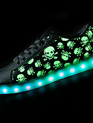 cheap -Women's Shoes Synthetic Microfiber PU Spring Fall Light Up Shoes Sneakers Round Toe for Casual Black