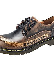baratos -Mulheres Sapatos Borracha Primavera / Outono Conforto Oxfords Salto Robusto Ponta Redonda Marron / Azul Real / Vinho